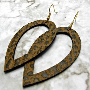 Animal print leather earrings with golden earwire